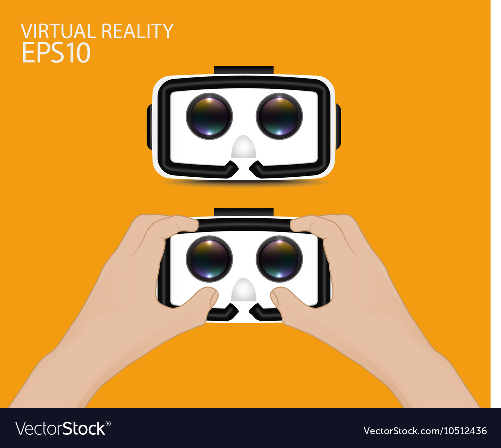 Man hand hold Virtual reality glasses