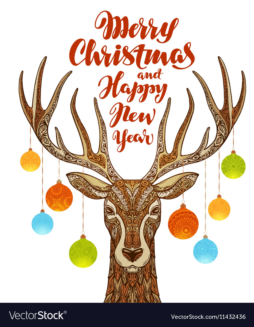 Merry Christmas and Happy New Year Reindeer with
