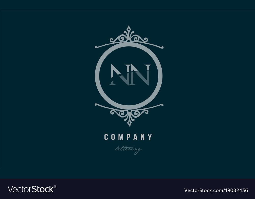 Nn n n blue decorative monogram alphabet letter