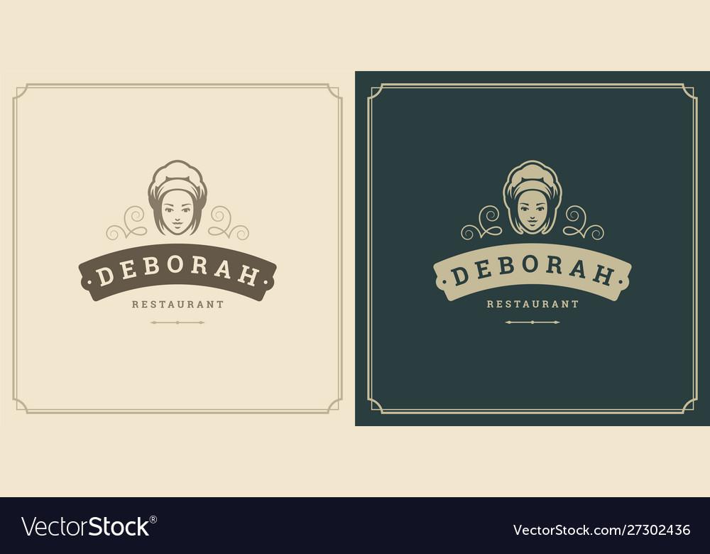 Restaurant logo template woman