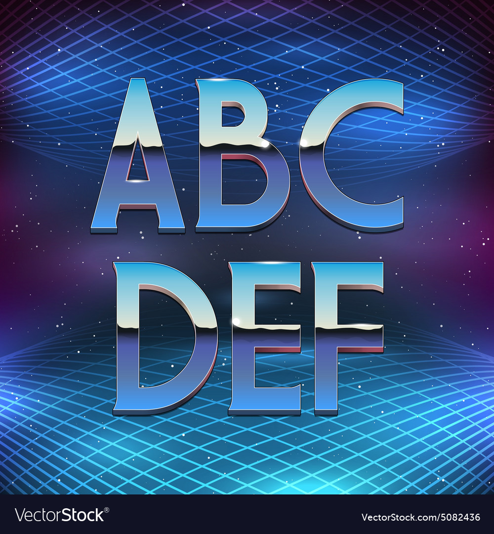 Thin Chrome Alphabet in 80s Retro Futurism style