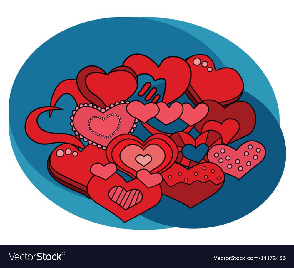 Valentine day hearts design set