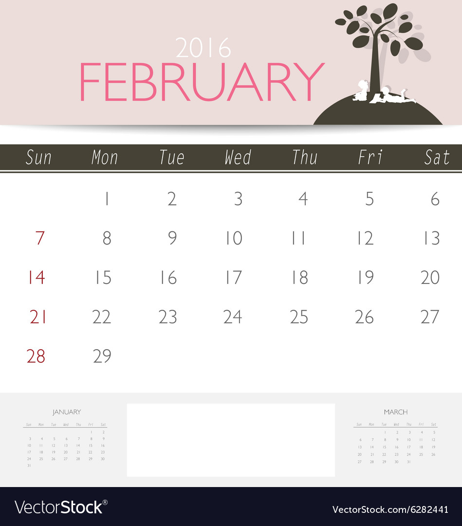 2016 calendar monthly calendar template for vector image