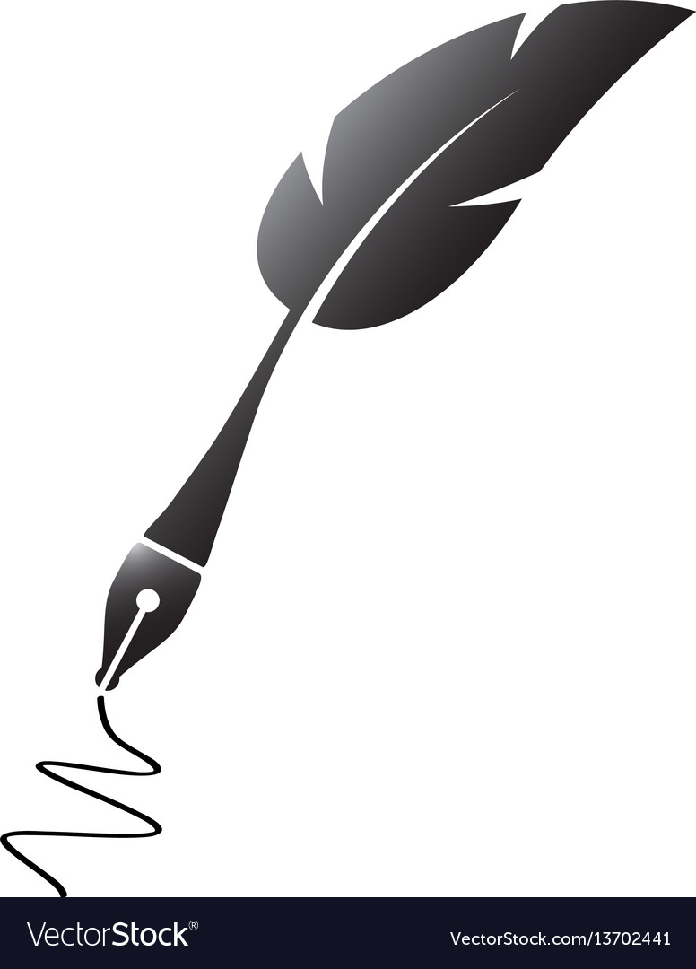 black feather silhouette pen royalty free vector image rh vectorstock com vector pen vector pen