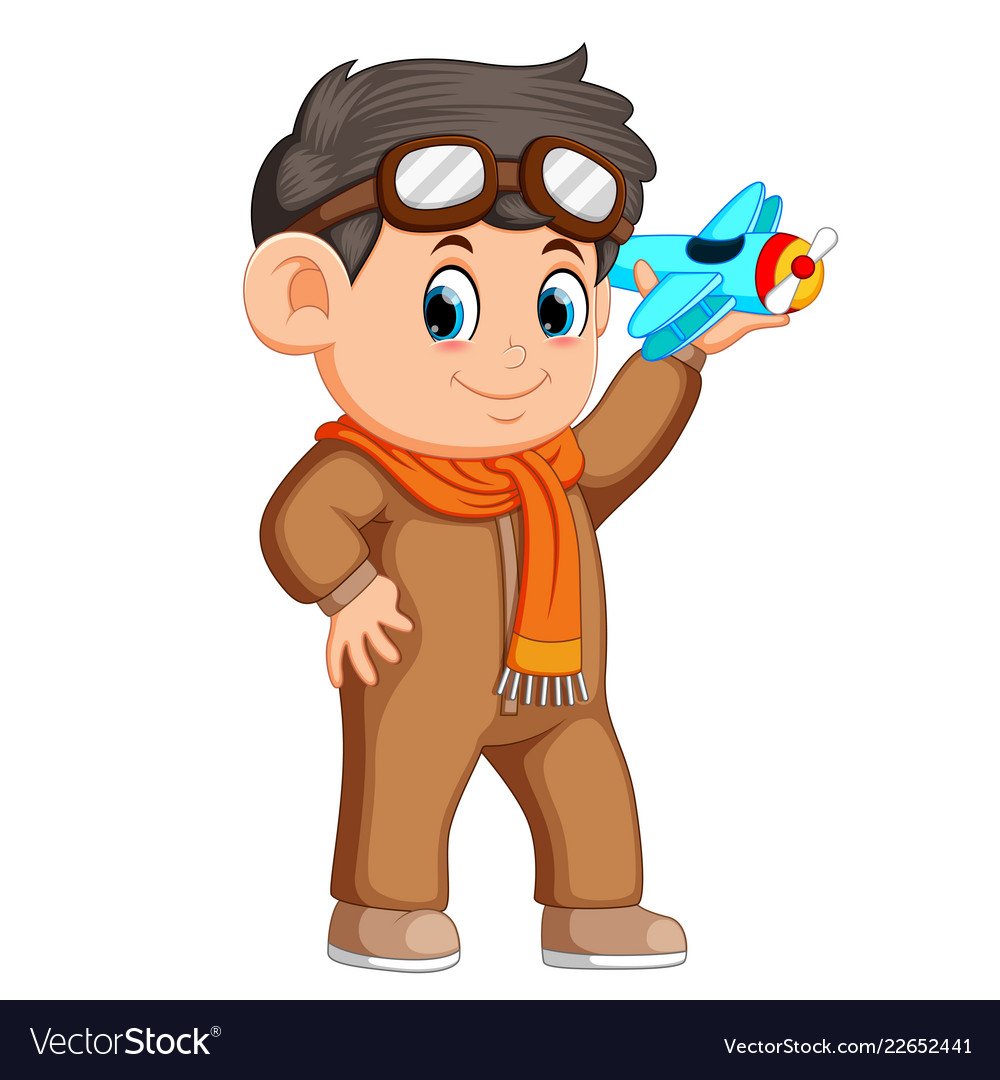 Happy Kid Playing With Toy Airplane Royalty Free Vector