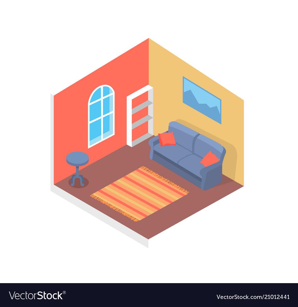 Home design cute interior cozy room color card vector image