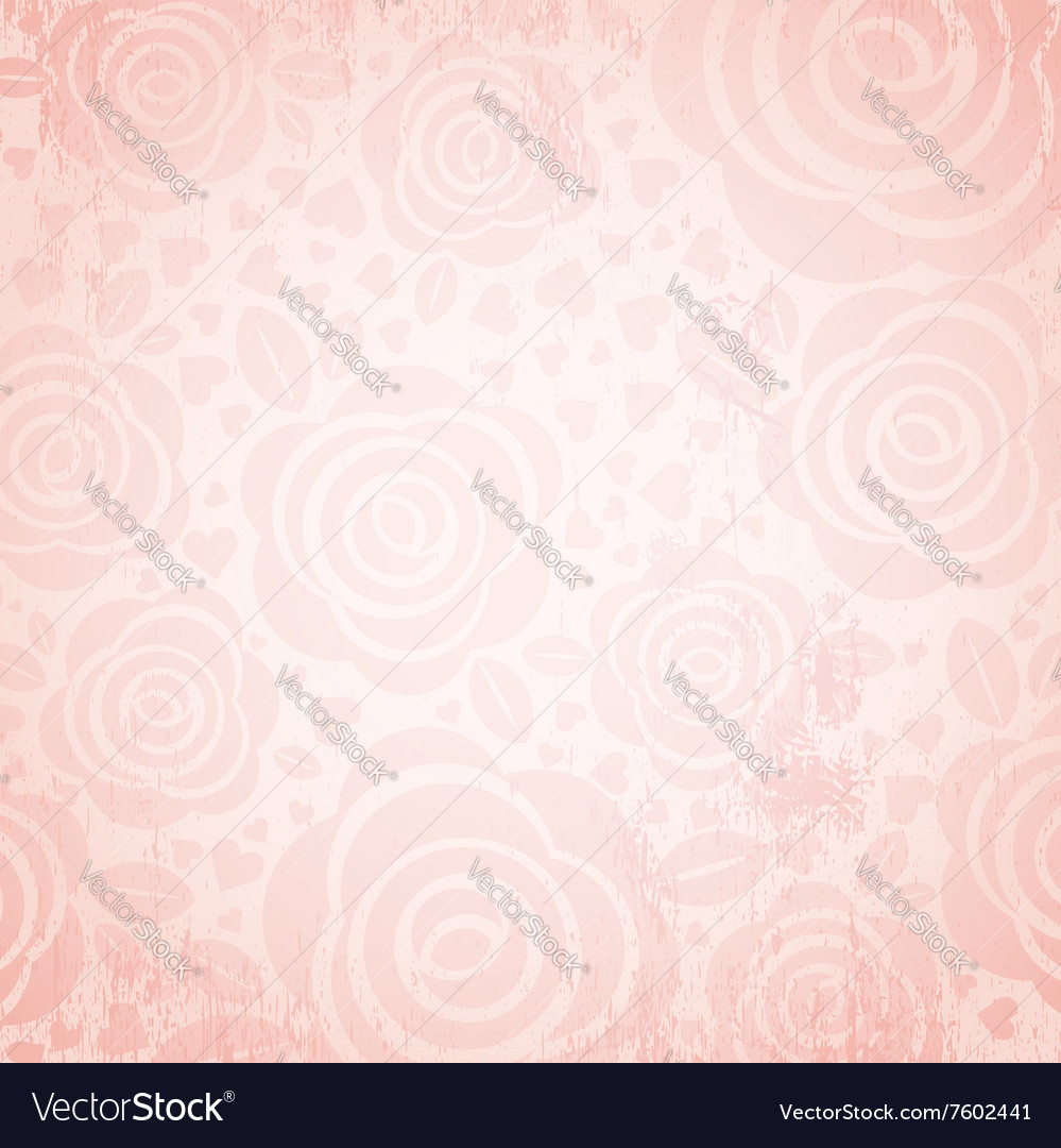 Pink background with rose and heart