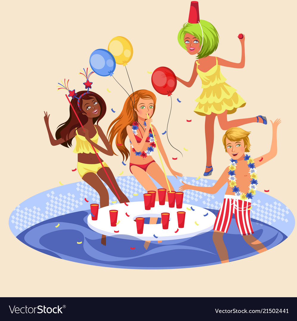 Pool party colorful poster