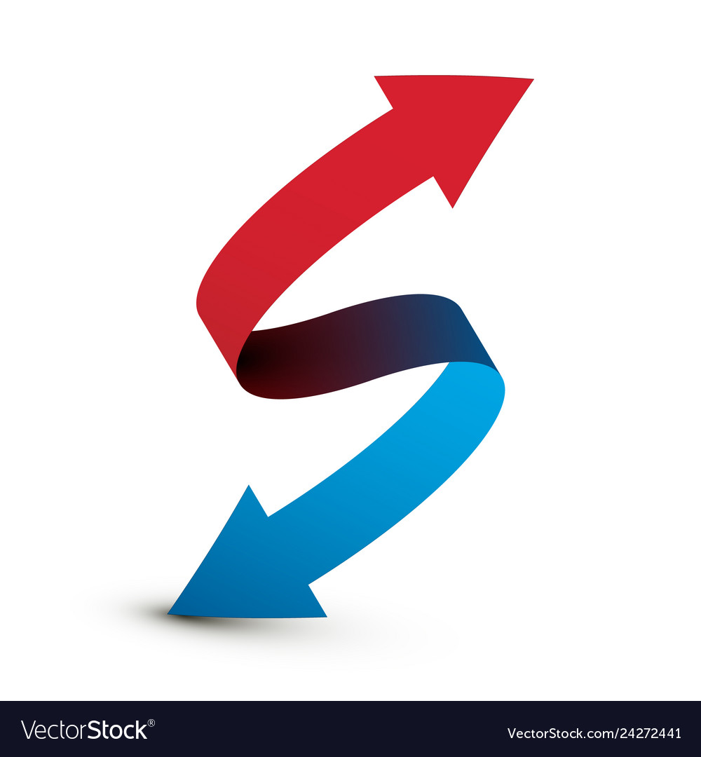 Red and blue arrows icon double arrow logo symbol
