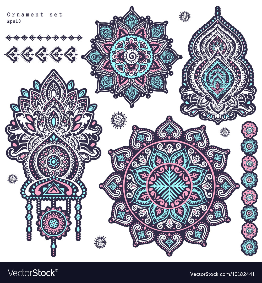 Set indian floral paisley ornaments vector