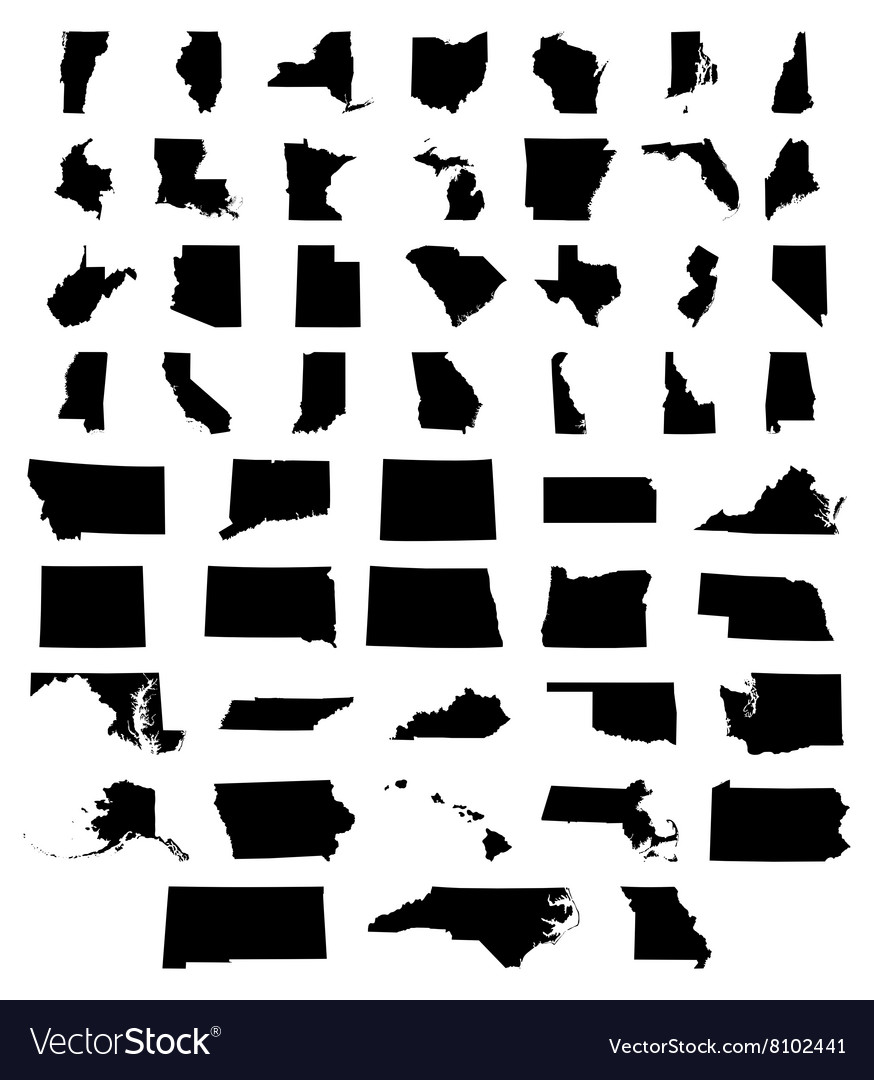 Set of US states maps Royalty Free Vector Image