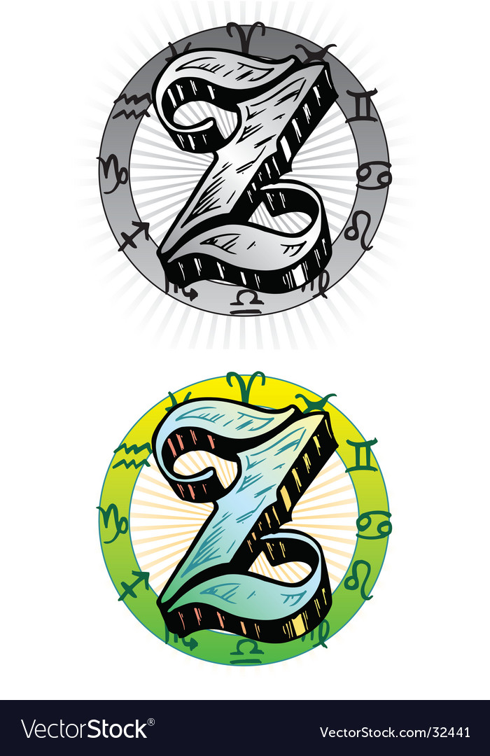 Tattoo letter Z vector image