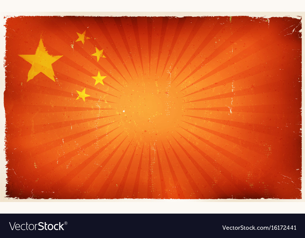 Vintage china flag poster background vector image