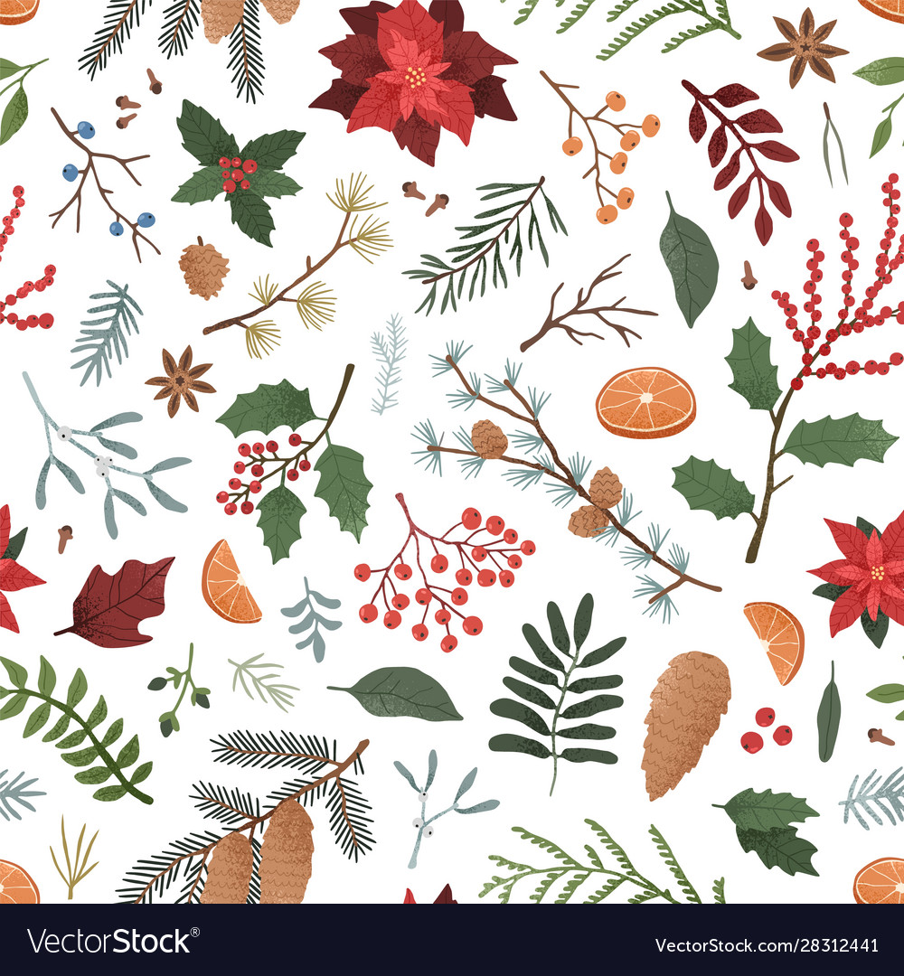Winter botanical color seamless pattern