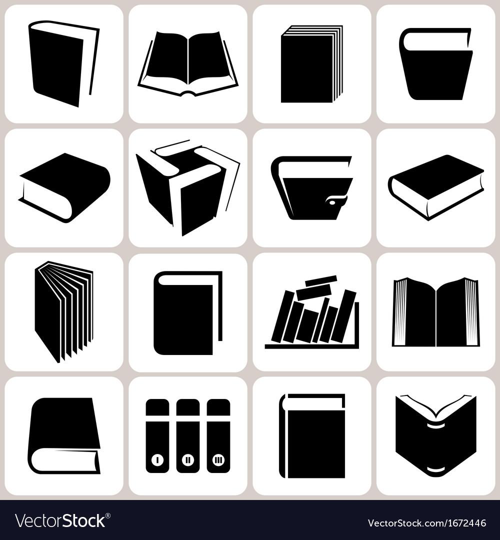 16 book icons set