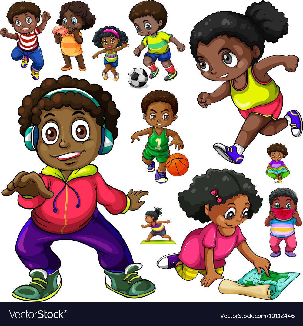 African American kids doing different things