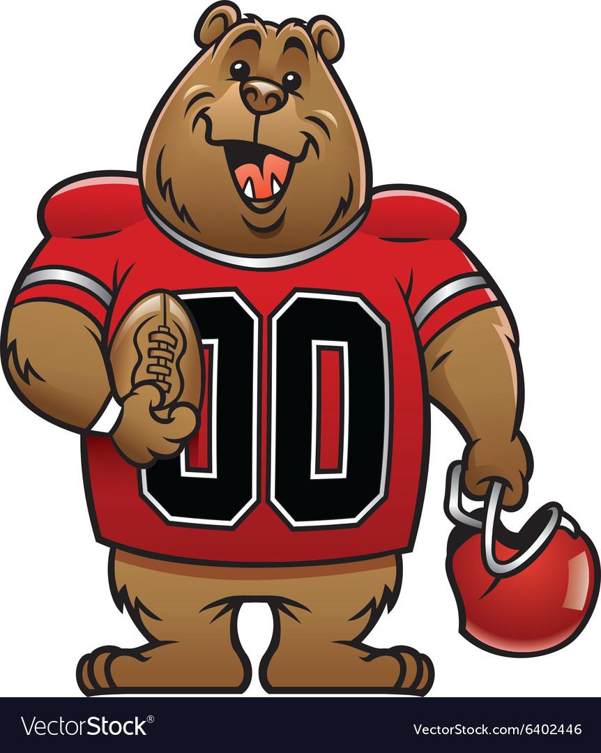 bear cartoon football mascot royalty free vector image rh vectorstock com