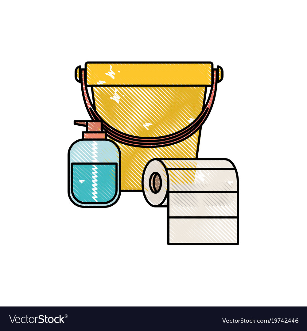Bucket and liquid soap and roll paper towel in Vector Image