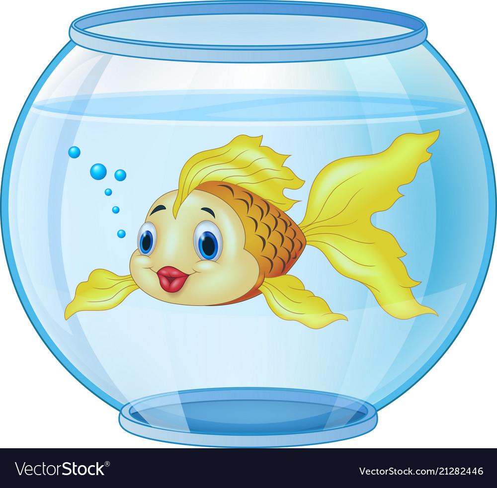 Cartoon Golden Fish In The Aquarium