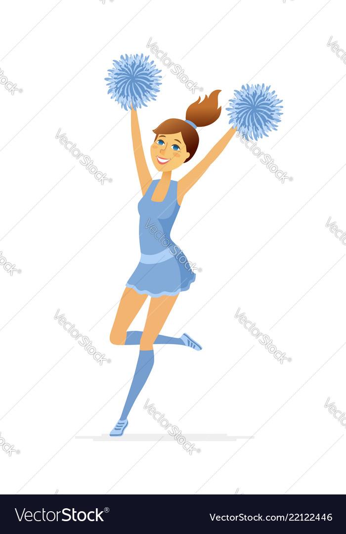 Dancing cheerleader - modern cartoon people