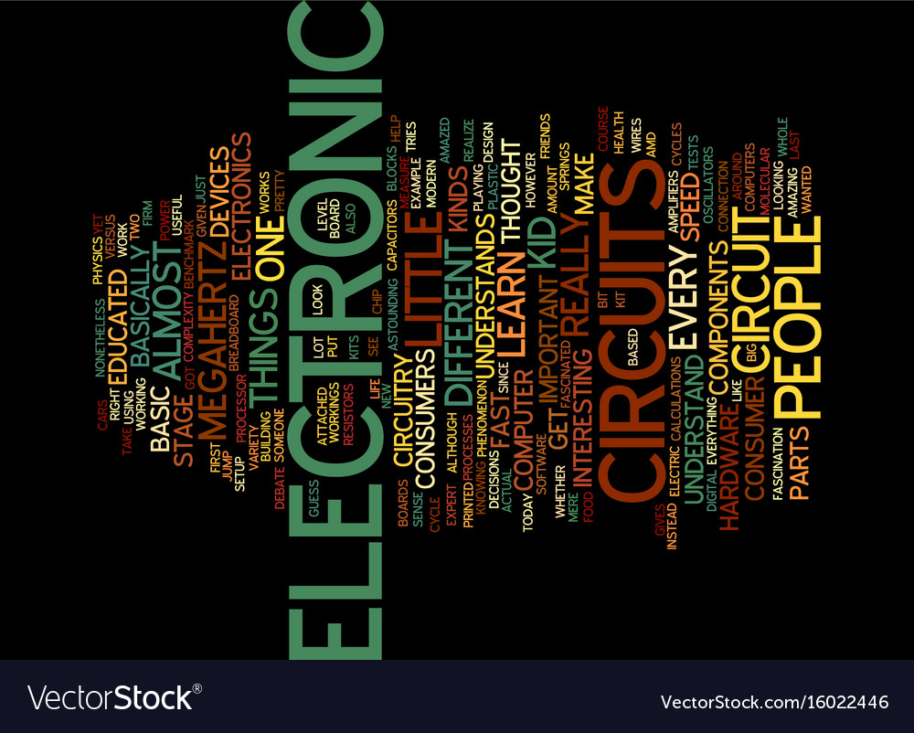 Electronic Circuits Text Background Word Cloud Vector Image Design