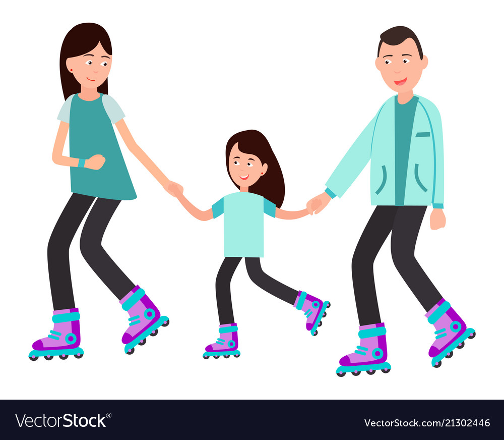 Family roller skating together