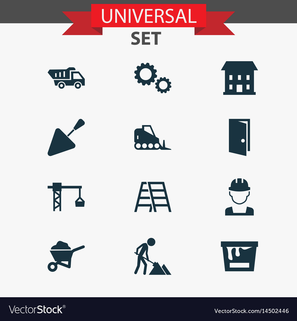 Industry icons set collection of spatula stair vector image