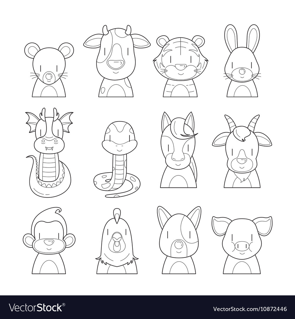 Twelve Animals Chinese Zodiac Signs Outline Set