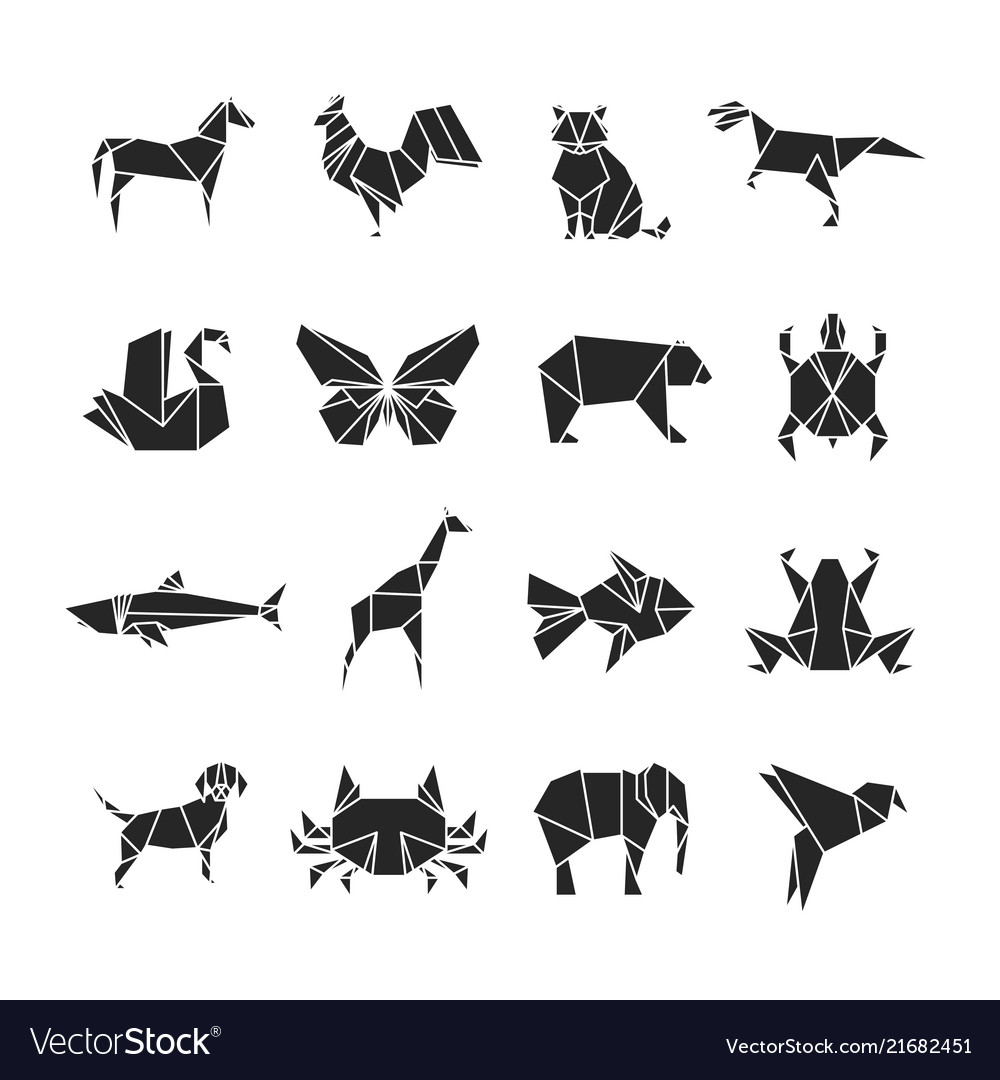 Abstract animals silhouettes with line details