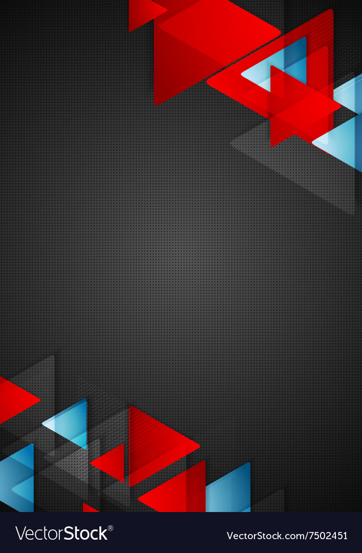 Abstract Blue Red Triangles On Black Background