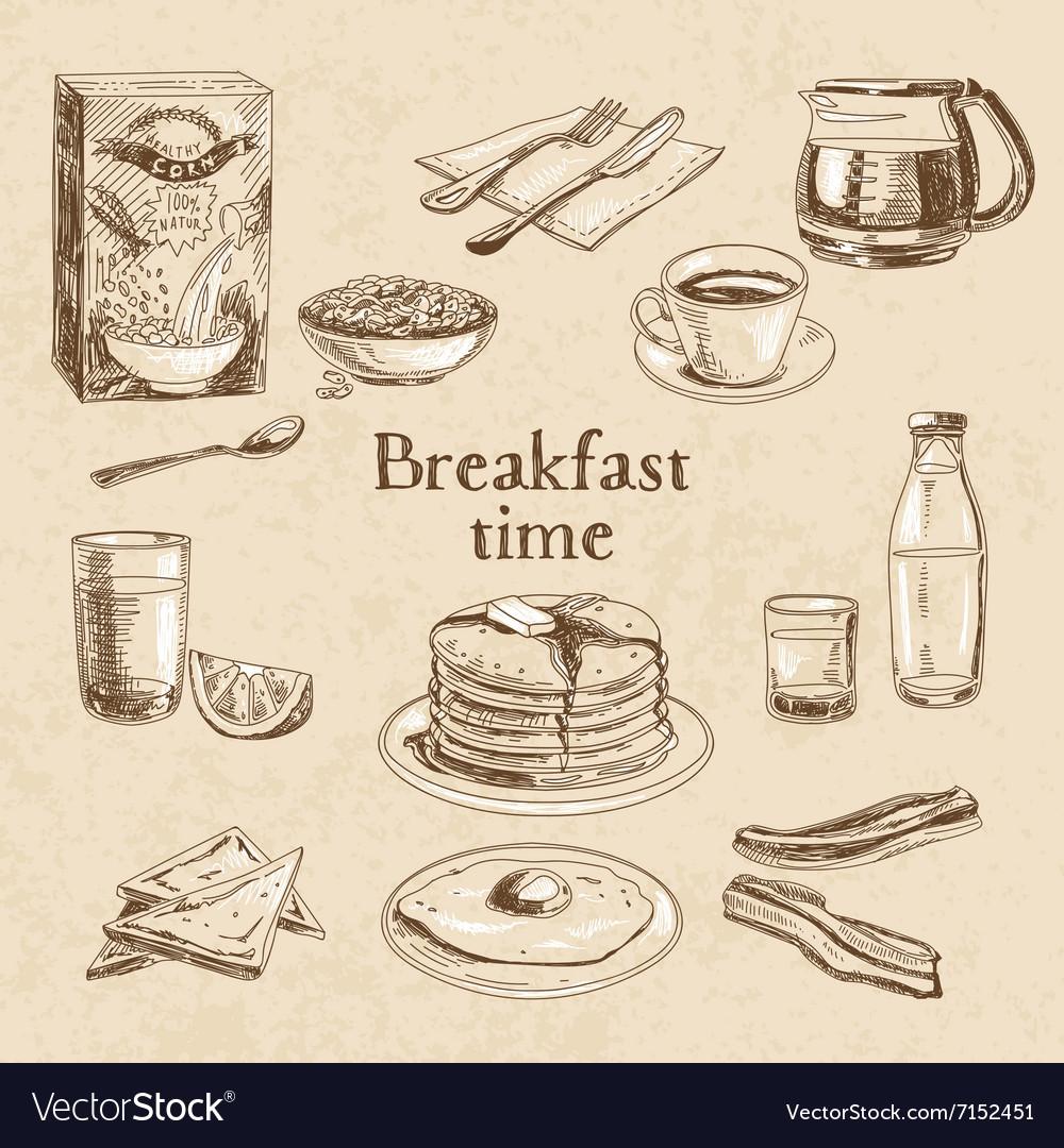 Breakfast hand drawn set