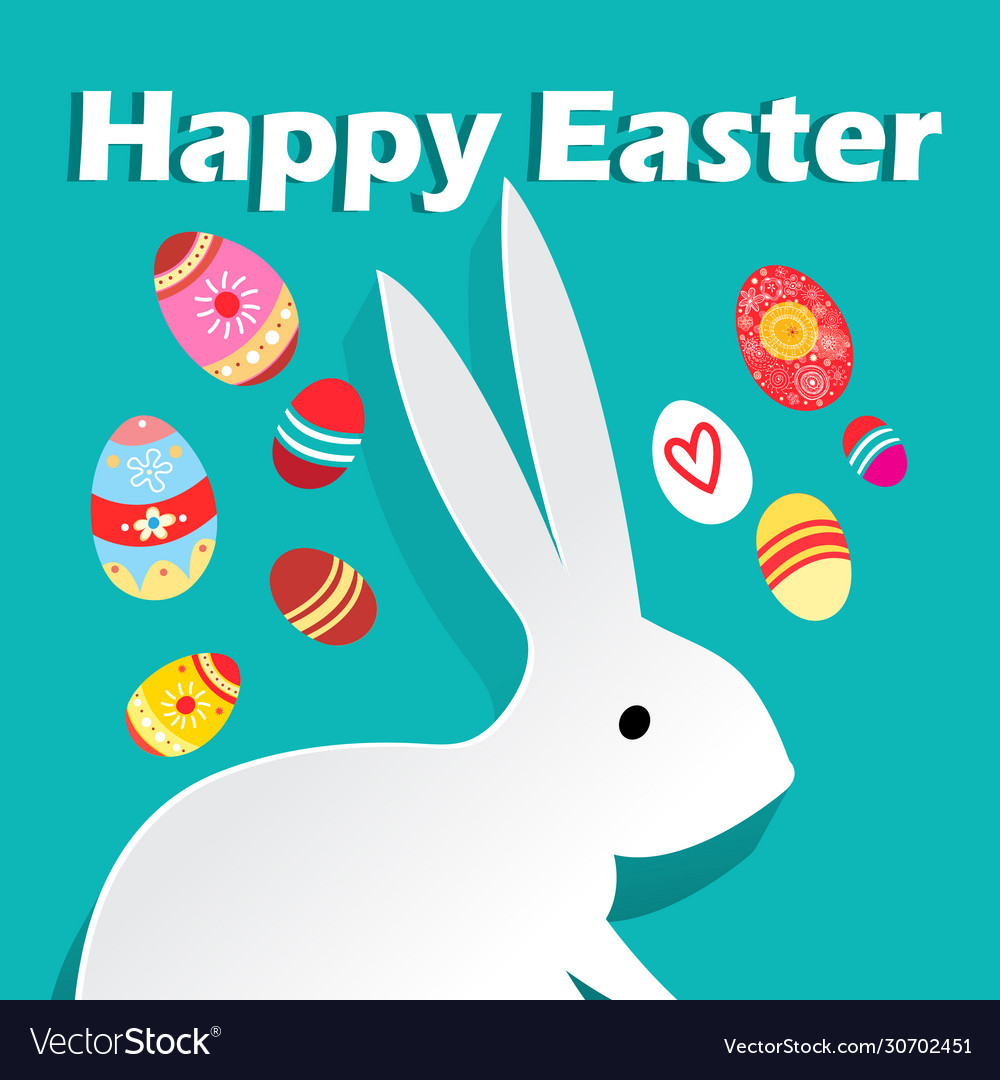 Bright wonderful easter card with rabbits and eggs