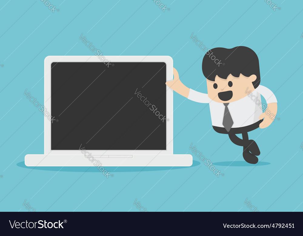 Businessman leaning against laptop vector image