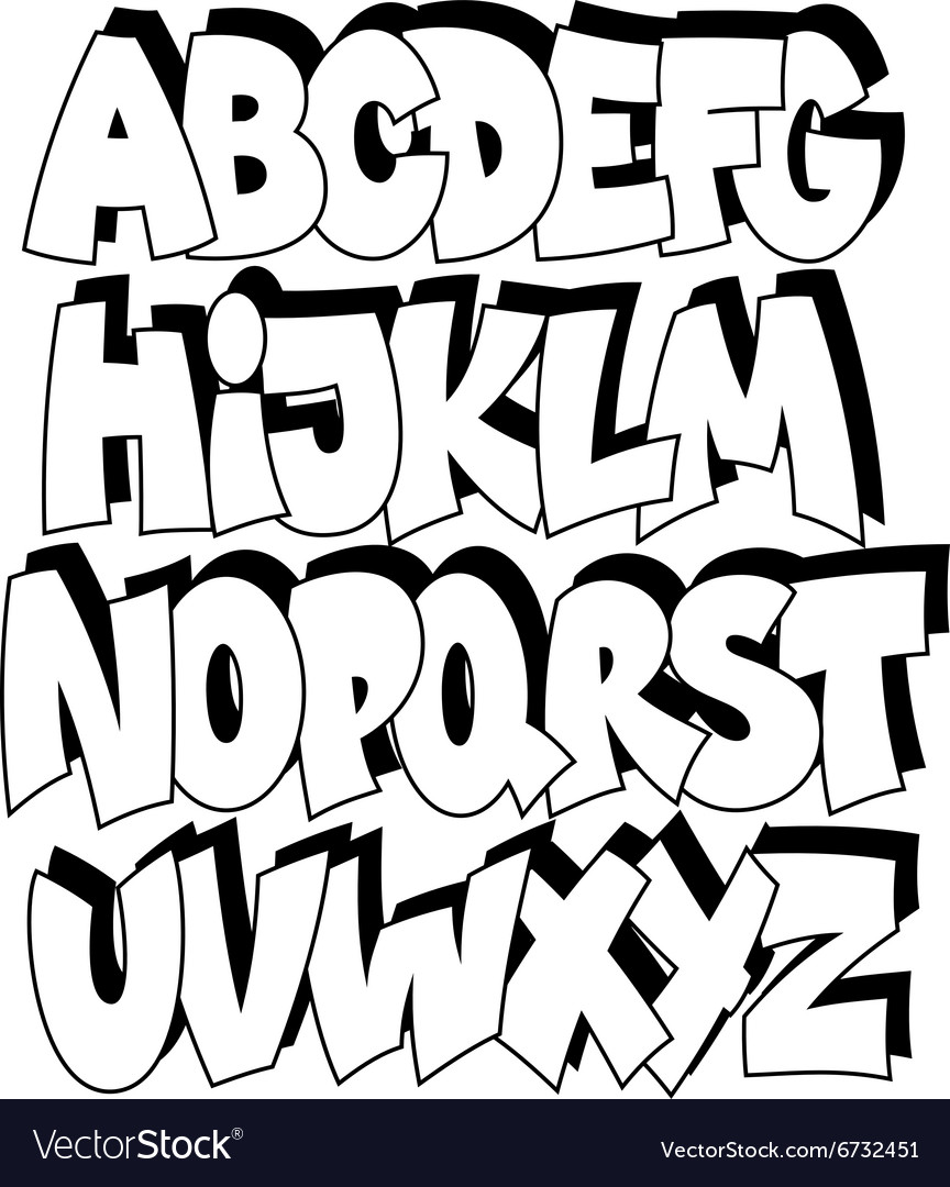 Cartoon comic graffiti font alphabet royalty free vector