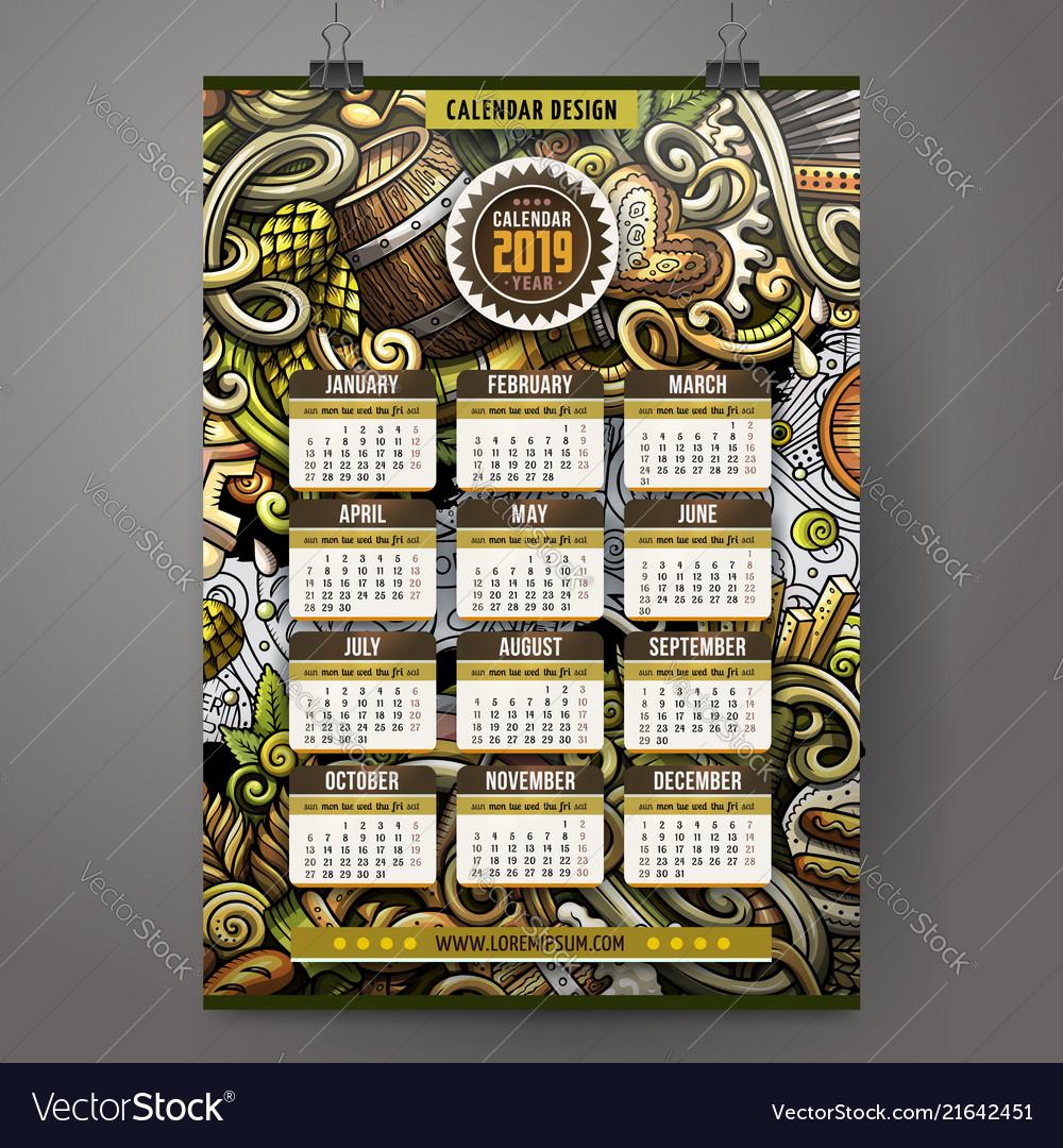Beer Festival Calendar 2019 Cartoon doodles beer fest 2019 year calendar Vector Image