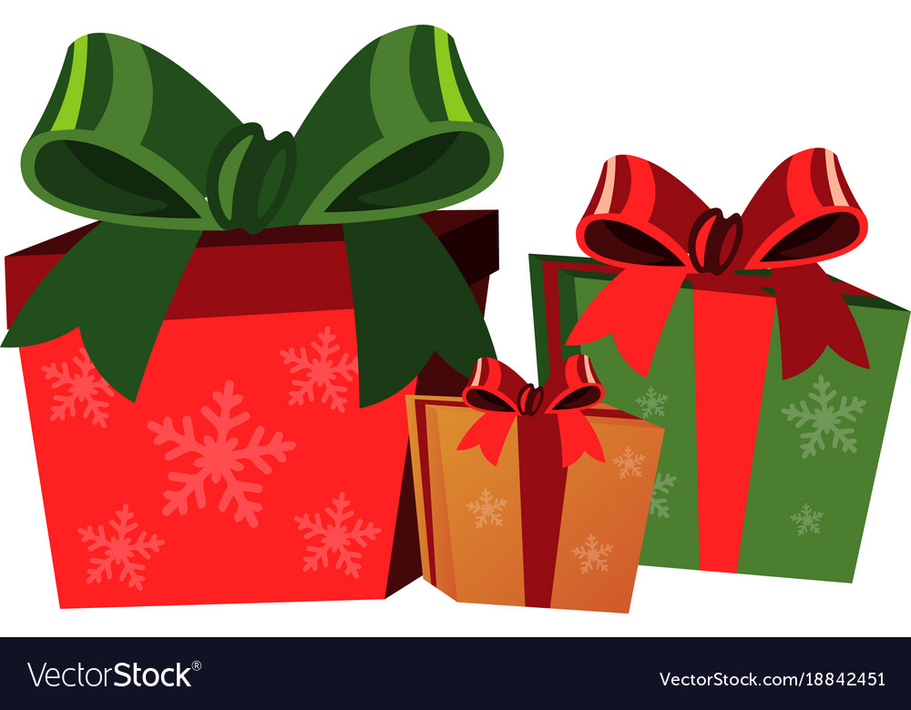 christmas gift boxes on white background vector image vectorstock