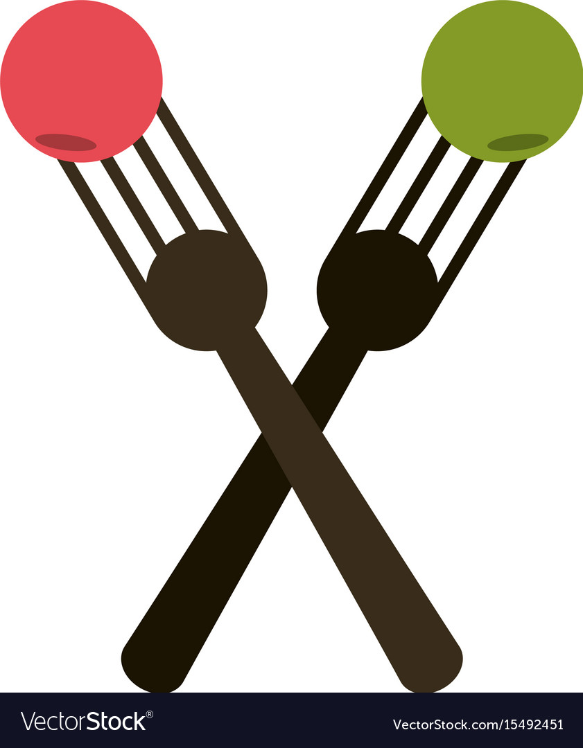 Crossed forks with food icon image vector image