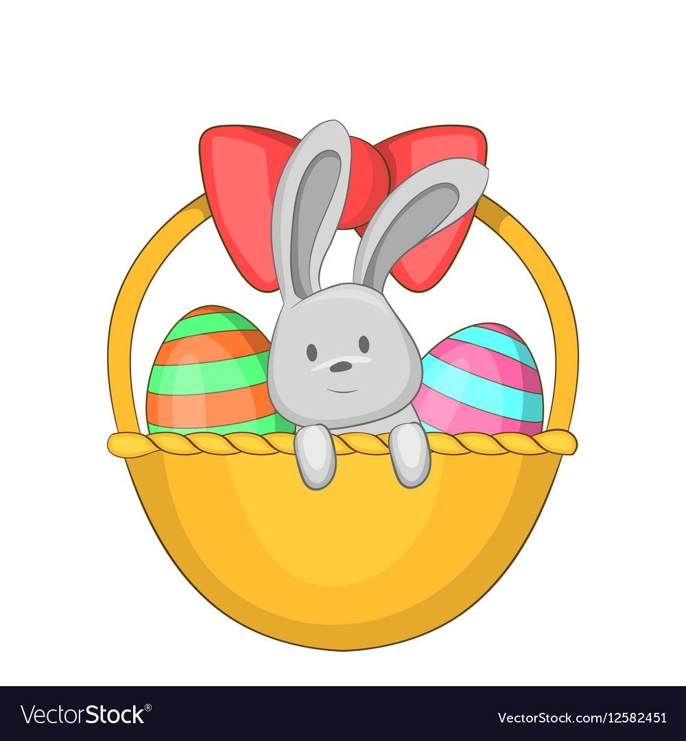 Easter bunny basket icon cartoon style