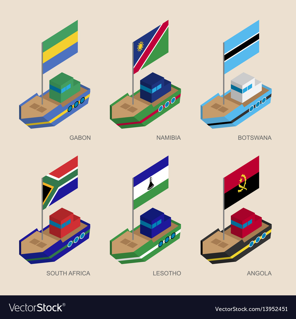 Isometric ships with flags of african countries