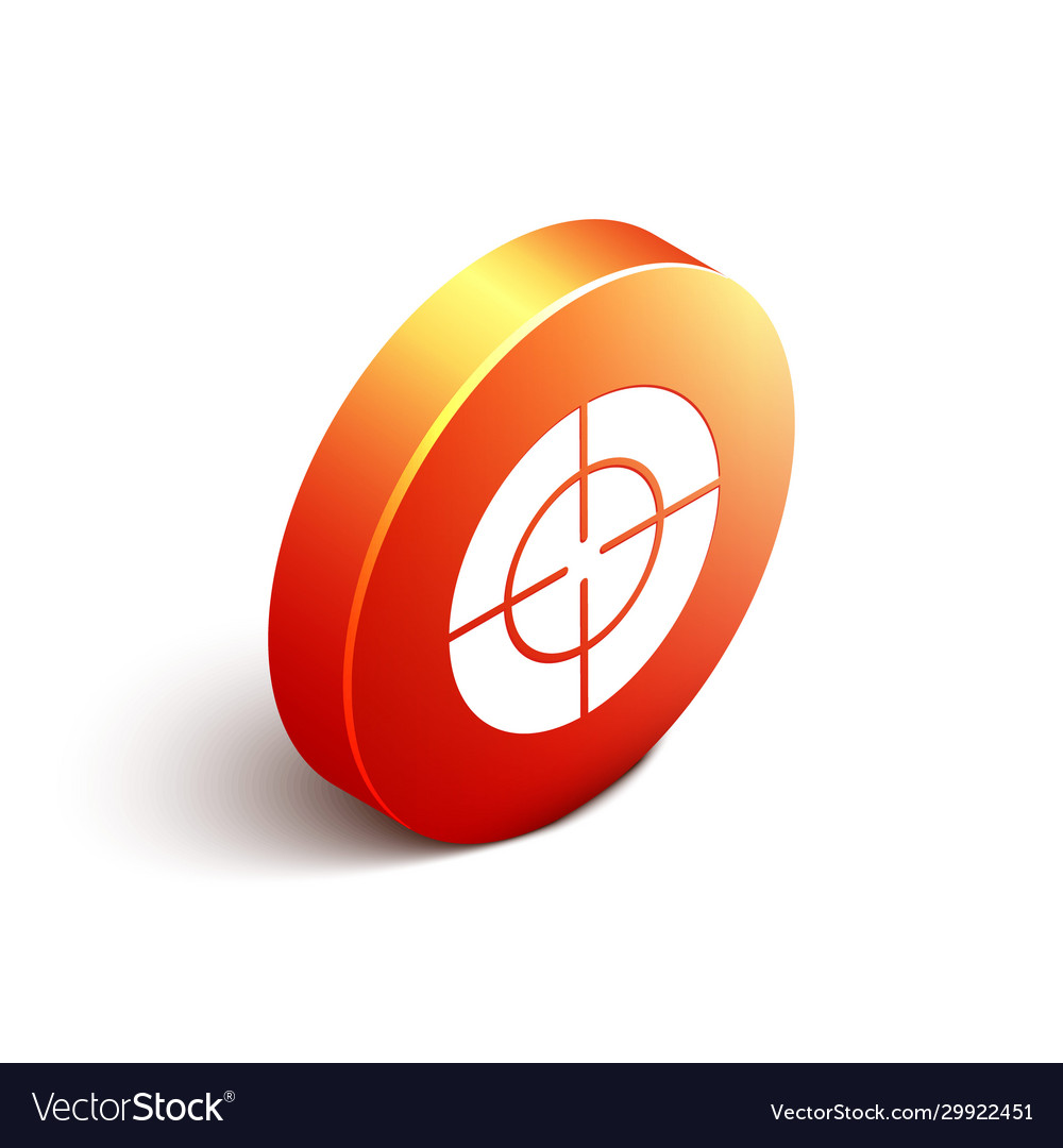 Isometric target sport icon isolated on white