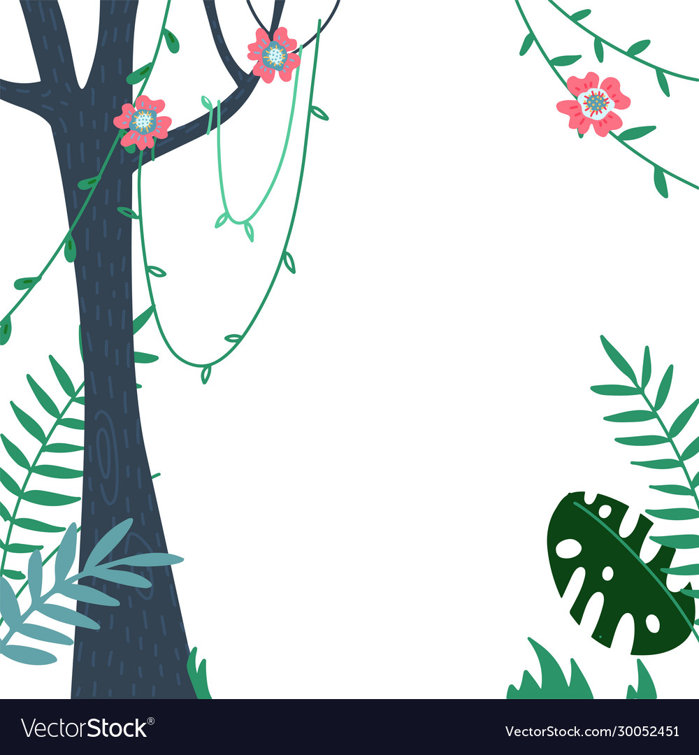 Jungles leaves and summer tropical frame poster