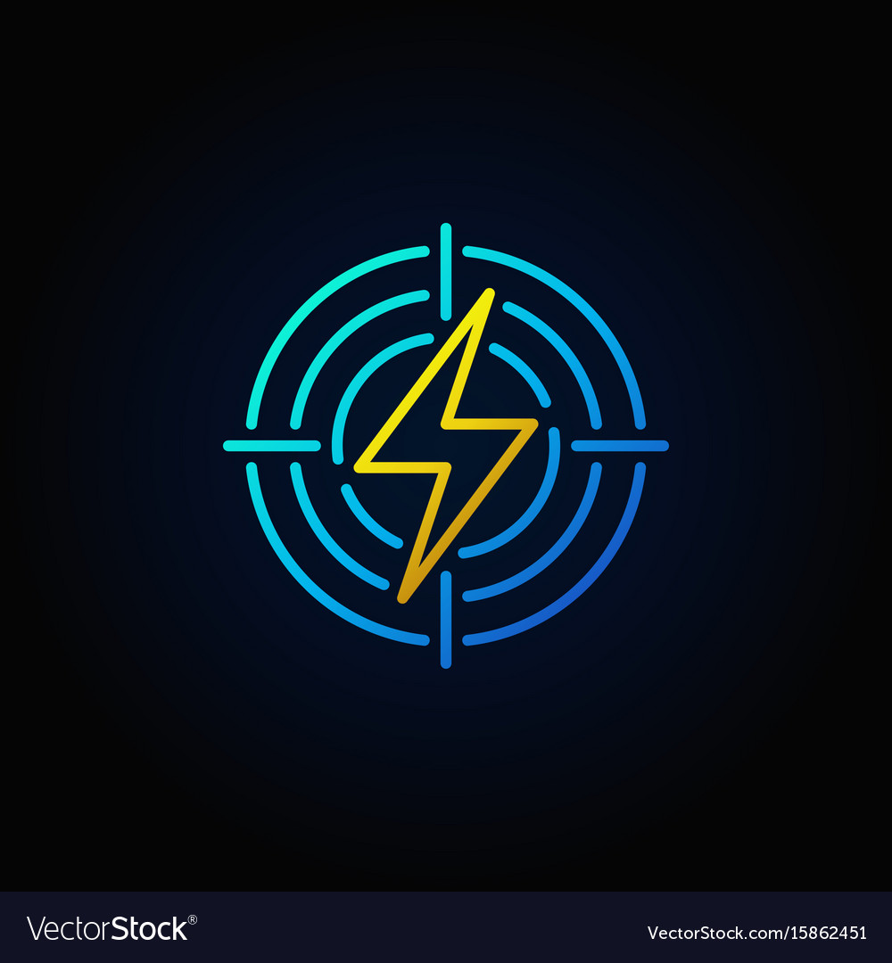 Lightning in target colorful icon