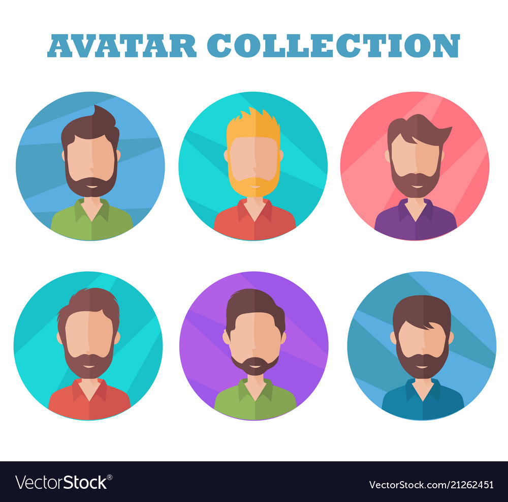 Man avatar collection profile picture in flat
