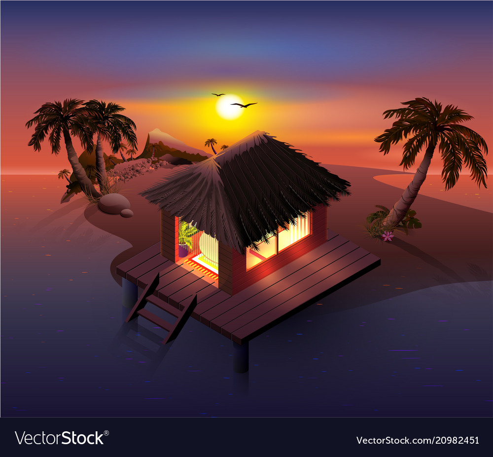 Night tropical island palm trees and shack on