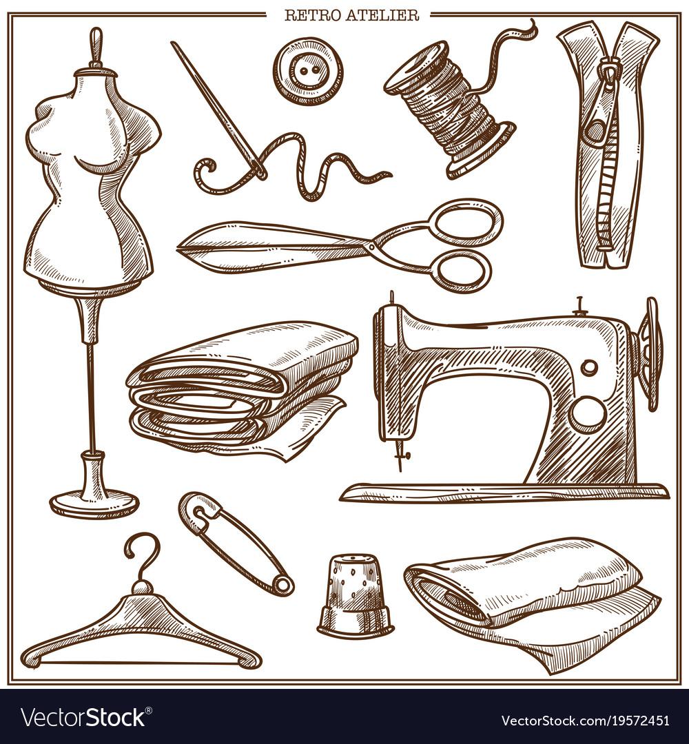 Retro atelier or dressmaker tailor salon equipment