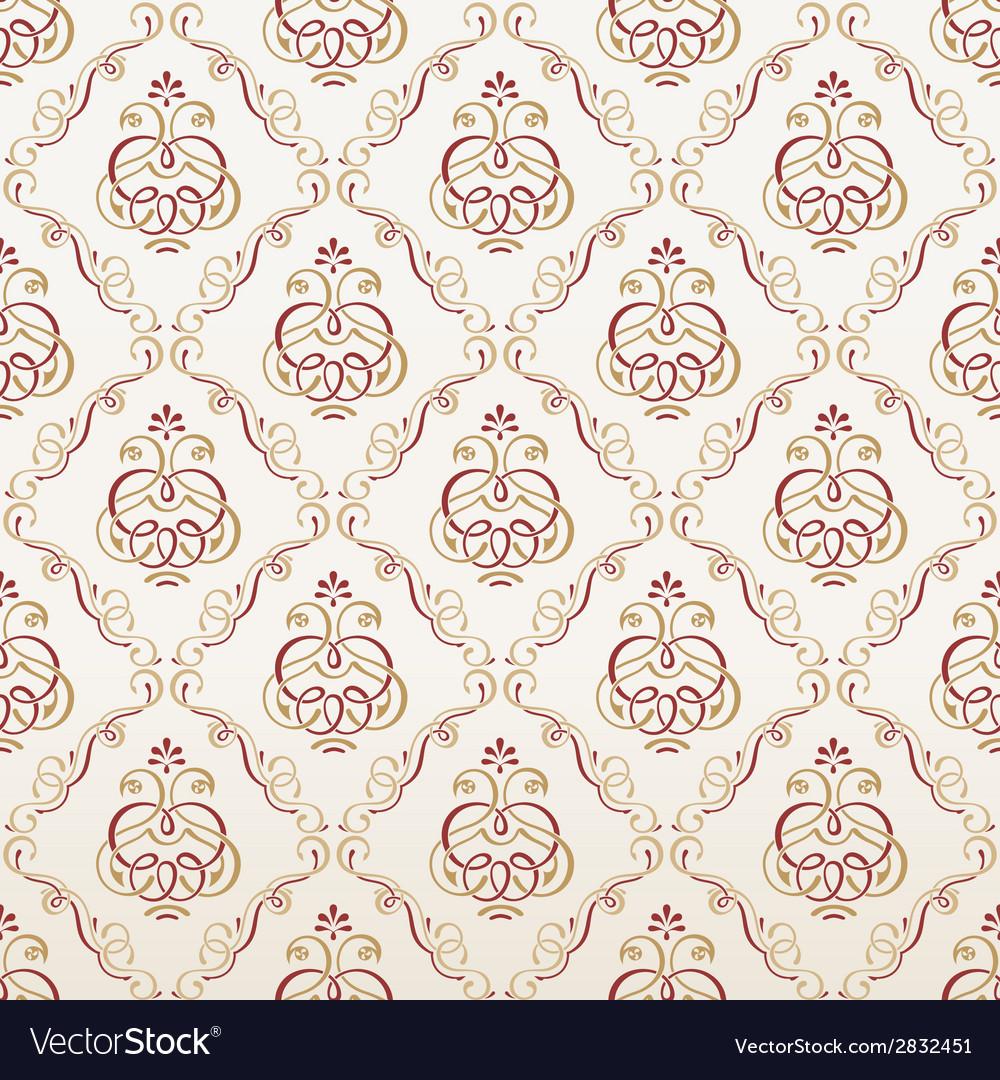 Seamless Florals Wallpaper Vintage Background Vector Image