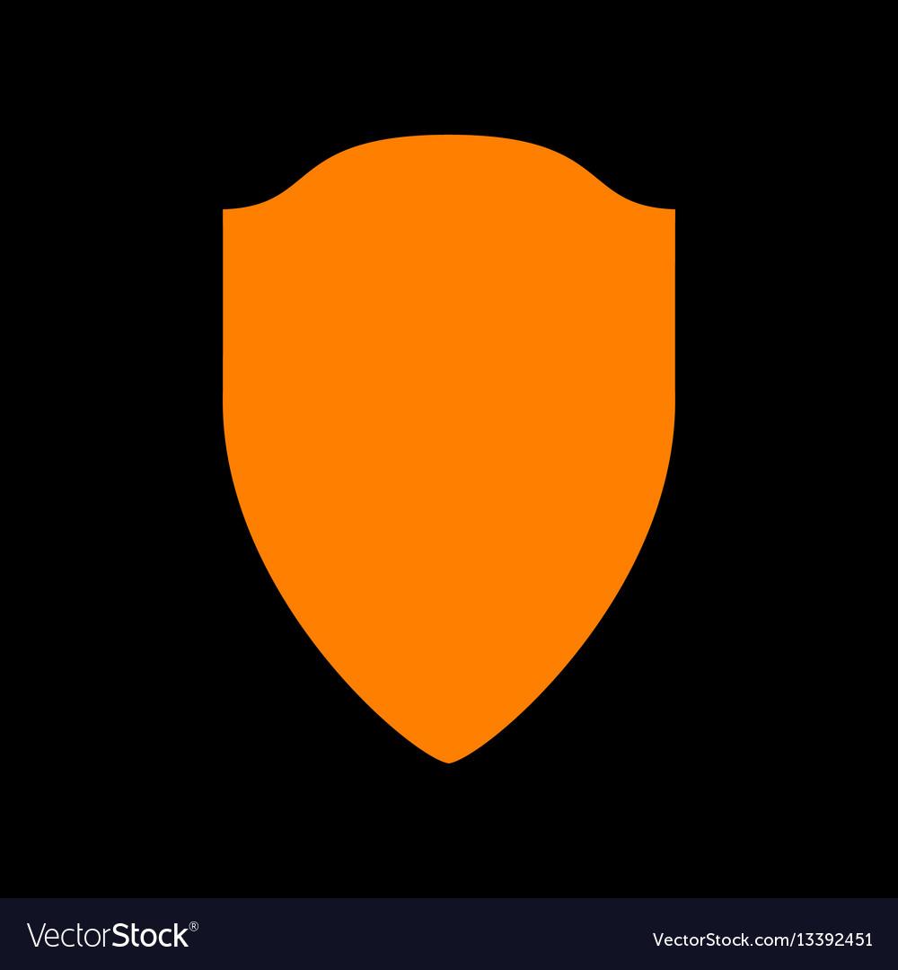 Shield sign orange icon on black