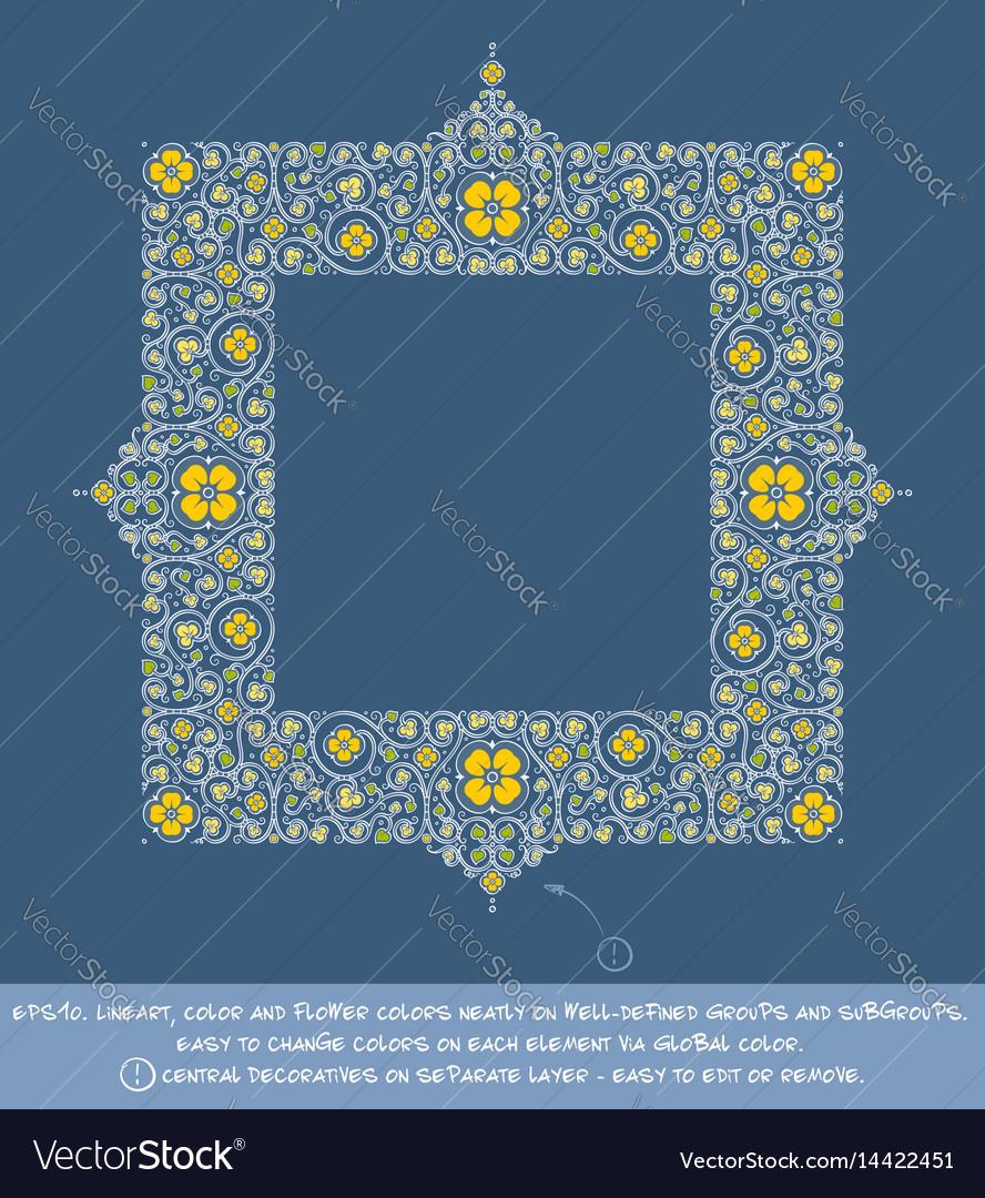 Square flower decorative ornamentst - yellow