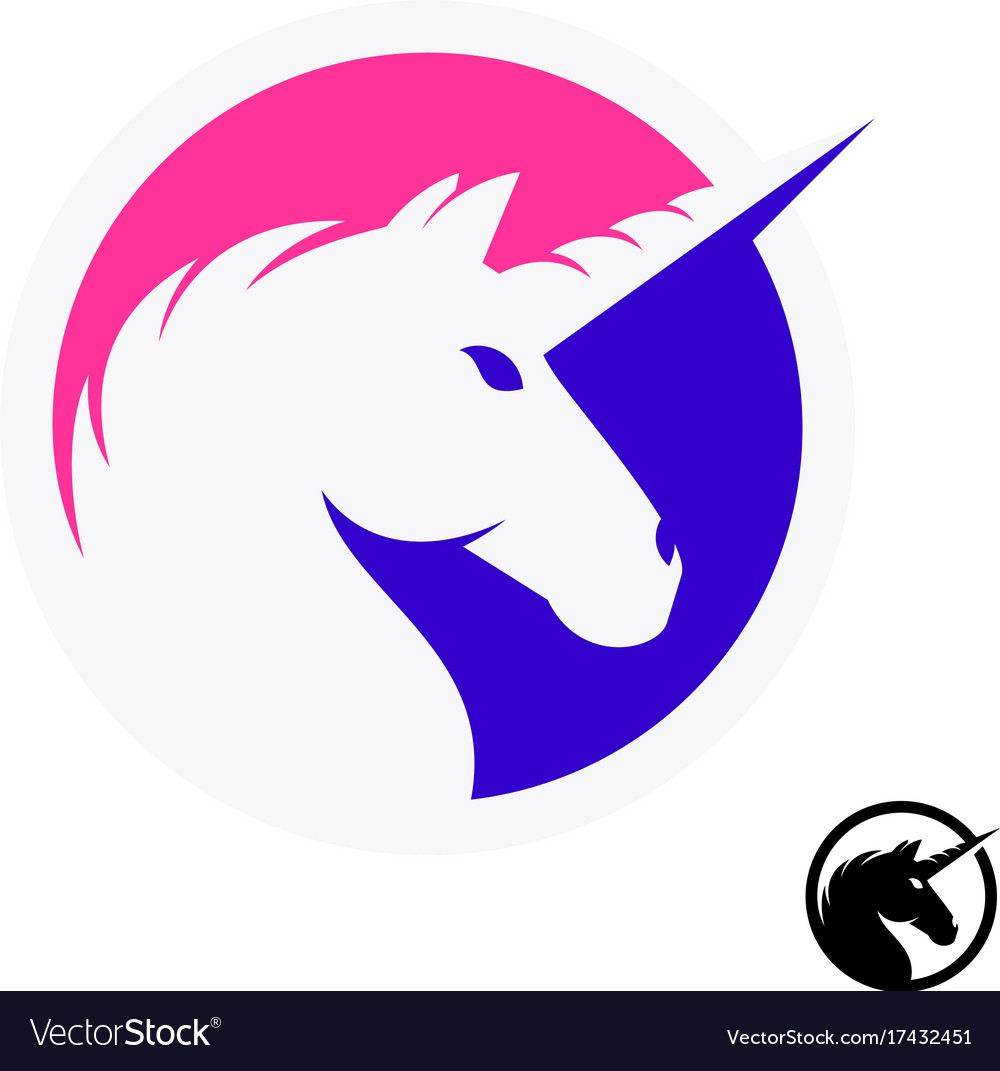 Unicorn logo with head and horn silhouette