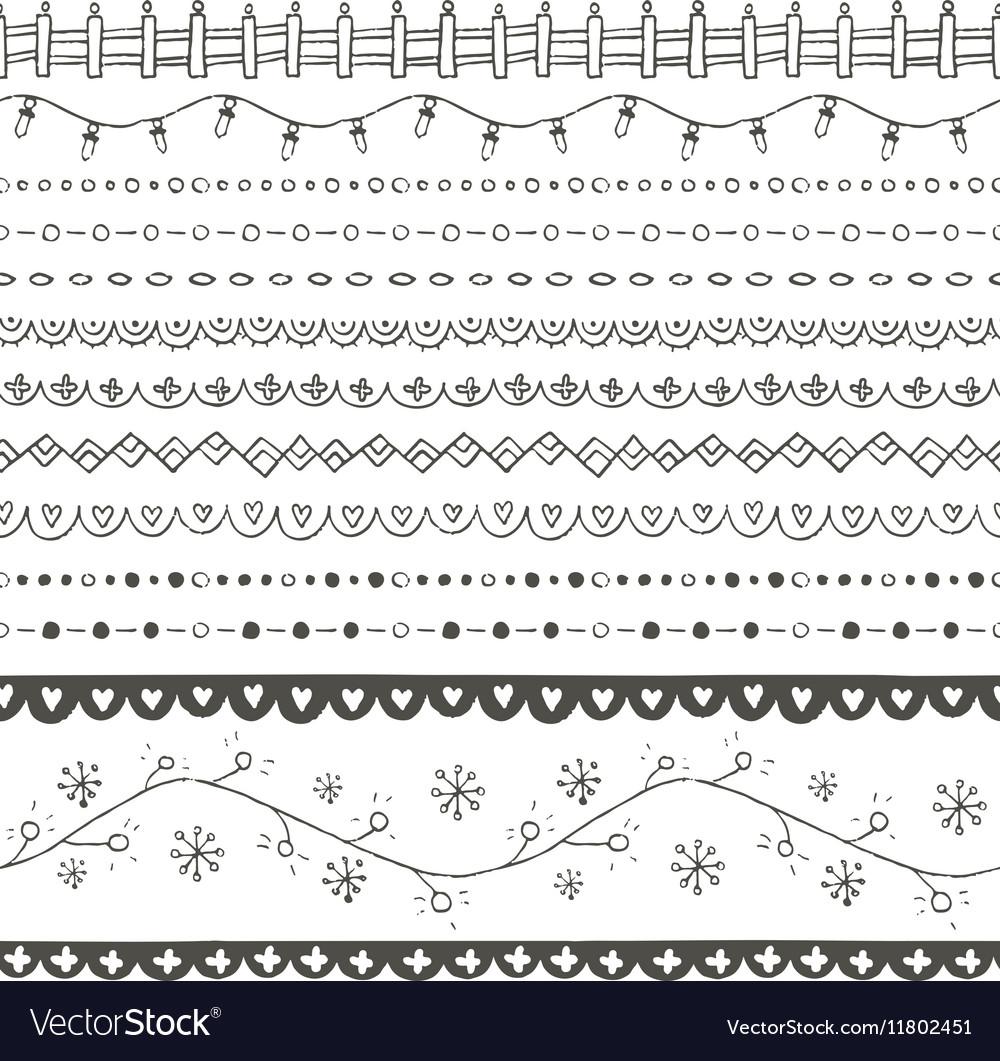 Winter hand drawn seamless borders